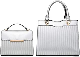 Women's Fashion Handbag Set Of 2 Versatile Multi Piece Set (Color : Silver)