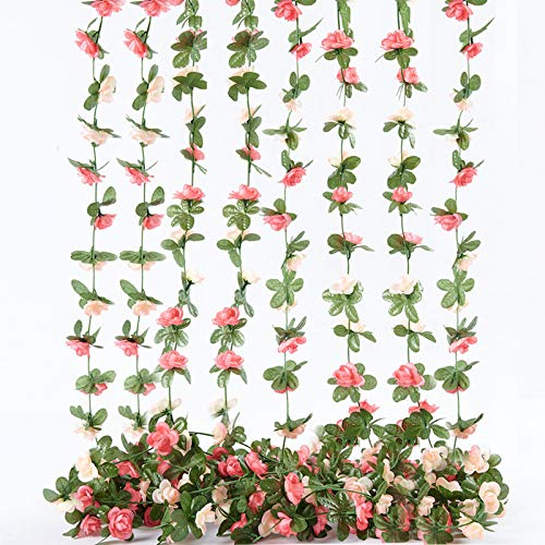 PONKING Artificial Rose Vine Flowers with Green Leaves, 8pcs 68FT Hanging Fake Flower Garland, Roses Vine for Home Hotel Office Wedding Party Garden Craft Wall Decor (Pink)