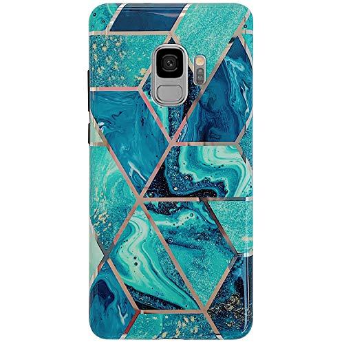 Surakey Cover Compatibile con Samsung Galaxy S9 Custodia Silicone Morbido Modello Geometric Marmo Case con Flessibile TPU Bumper Moda Ultra Slim Anti-Scratch Cover per Samsung Galaxy S9,Verde