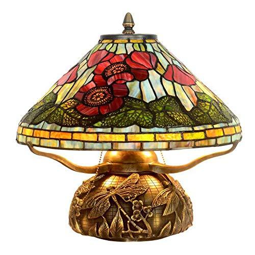 Kaper Go Tiffany Style Retro Living Room Lámpara De Mesa Decoración del Hogar Sala De Estudio Copper Warm Lamp