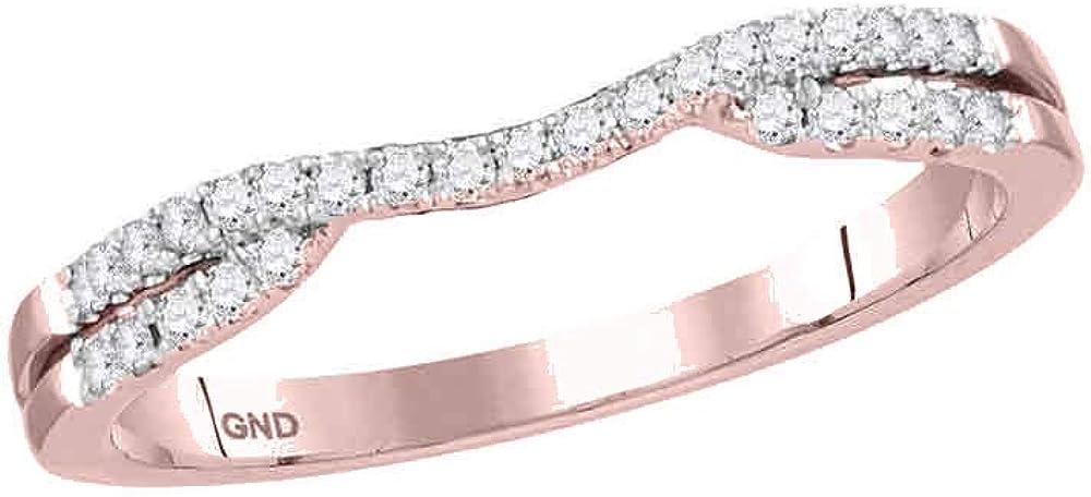 14kt Rose Gold Womens Round Diamond Band Ring Guard Enhancer 1/6 Cttw