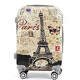 Maleta de Cabina Trolley de Viaje Equipaje de Mano 4 Ruedas giratorias 360grados Dibujos Fantasia Paisaje (Paris Mariposa)