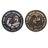 SOUTHYU 2 Pack Pork Eating Crusader Tactical Morale Patches Military Emblem Embroidered Badge, Hook and Loop Patch
