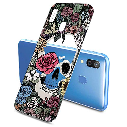 Oihxse Clair Crystal Soft Silicone Compatible pour Samsung Galaxy A9/A9 Pro Coque Transparente TPU Crâne Rose Motif Design Housse Ultra Mince Protection Antichoc Etui(E4)