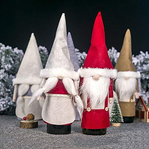 Udol Festliche Stimmung Weihnachtsdekorationen Weihnachts gesichtslos Tuch alte Weinflasche Champagner Sets Kreativ-Sets j0929 (Color : Six-Piece Set, Size : 34 * 16cm)
