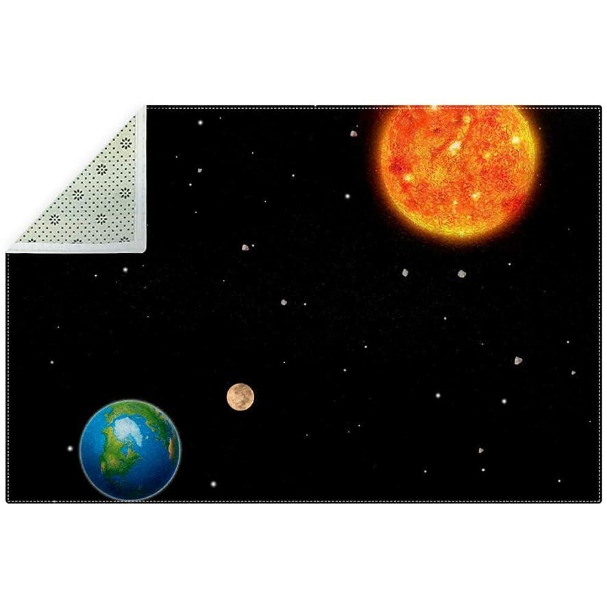 ブリード学校の先生一定AyuStyle ラグ 星 星空 夜空 惑星 プラネット カーペット ラグマット ホットカーペット フロアマット マイクロファイバー 滑り止め 180×120cm