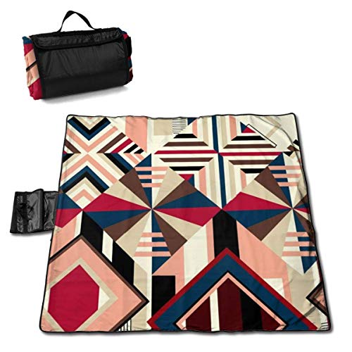 ClownFish Estera de Picnic Waterproof Extra Grande 57 * 59 In with Respaldo Impermeable para Camping de Picnic al Aire Libre,Abstract Geometric Mosaic Pattern