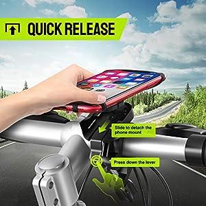 """Cocoda Soporte Movil Bicicleta, Desmontable Soporte Movil Moto Bici, 360° Rotación Porta Movil Bicicleta Accesorios Moto Compatible con iPhone 11 Pro MAX/XS MAX/XR, Samsung S20 y Otro 4.7""""-7.5"""" Móvil"""