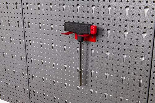 Große Werkzeug Lochwand bestehend aus 4 Lochblechen á 58 x 40 cm und Hakensortiment 22 Teile. Aus Metall in Hammerschlag-Grau und Rot. Gesamtmaß: 160 x 58 x 1 cm - 7