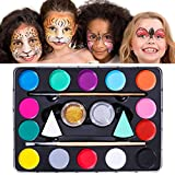 Unomor Face Painting Kits for Kids with 40 Stencils, 2 Sponges, 2 Brushes, 2 Glitters - Face Painting Kits Professional, Halloween Makeup Kit, Face Paint Non Toxic Safe for Kid's Skin
