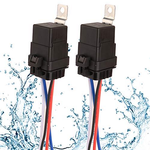 Gebildet 2 Stücke 40/30A 12V Wasserdichtes Relais-Kabelsatz-Set - 4-PIN-SPST-Relais im Bosch-Stil mit robuster 16AWG 14AWG-Kabel