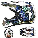 IDWX Casco De Motocross 丨 con Gafas/Guantes/Protector Facial 丨 NiñOs, Adolescentes Y Adultos 丨 S-XL 丨 Casco Integral De Descenso, Norma De Seguridad Ece22.05, Garras Blancas