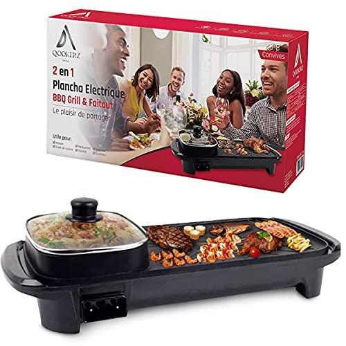 QOOKERZ - Plancha electrique multifonction, Plancha barbecue electrique Faitout, Gril electrique Teppanyaki, Grill barbecue, mijoteuse Hot Pot
