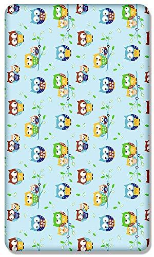 100% Algodón Sábana Ajustable Con Estampado Diseño para Bebé Cama Junior 160x70CM - Buhos Azul