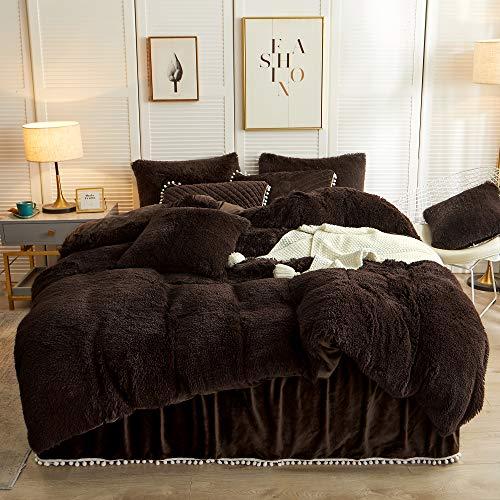LIFEREVO Luxuriöses Plüsch-Bettbezug-Set (1 x Kunstfell-Bettbezug + 1 x Pompons Fransen-Kissenbezug), solide, mit Reißverschluss (Doppelbett, dunkelbraun)