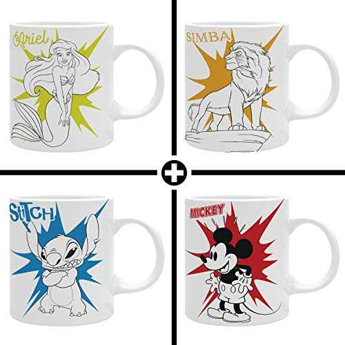ABYstyle The Good Gift Disney Mickey + Ariel + Simba + Stitch - Pop Collection - Vier 320 ml Tassen
