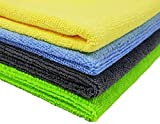 SOFTSPUN Microfiber Cleaning Cloths, 4pcs 40x40cms 340GSM Multi-Colour! Highly Absorbent, Lint and Streak