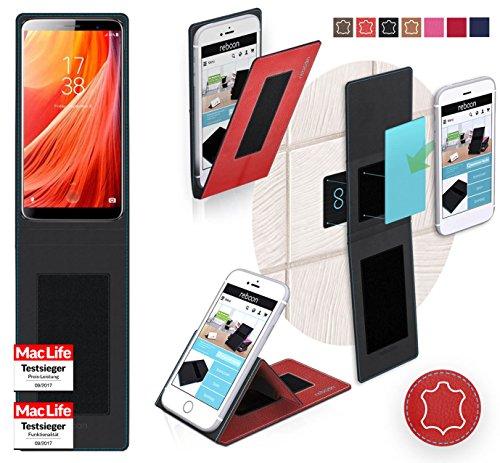 reboon Hülle für HomTom S7 Tasche Cover Case Bumper | Rot Leder | Testsieger