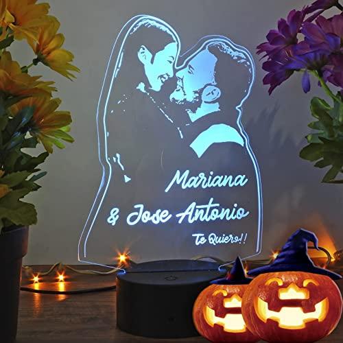 Oh! My Neon Lampara con Tu Foto 3D Personalizada Led 16 Colores Creativa Usb Regalos Ideales para Románticas Boda Cumpleaños Felicidades- (Base 1)