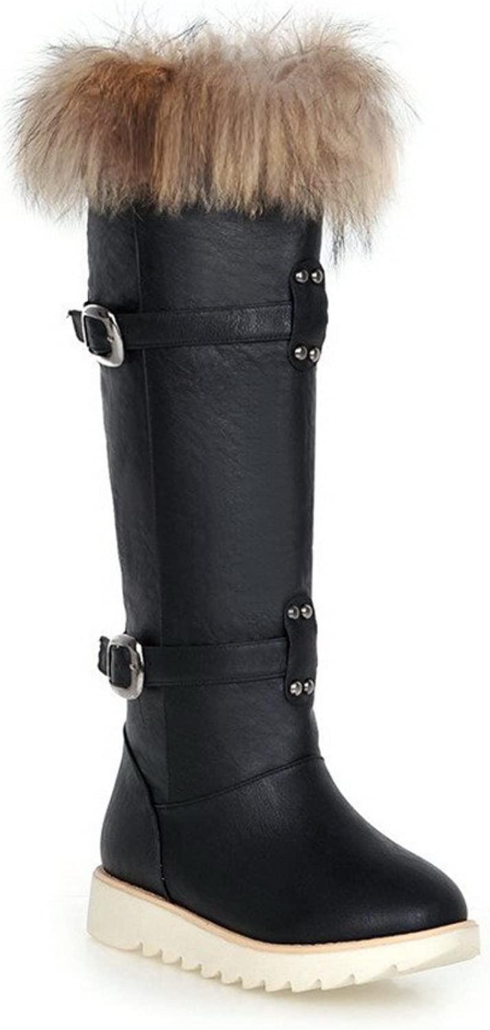 WeenFashion Women's Closed Round Toe Blend Materials PU Knee-high Boots