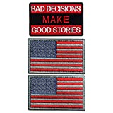 Ebateck Bad Decisions Make Good Stories Patch & American Us Flag, 3 Pack, Embroidered Morale Tactical Patches Funny for Hat Backpack Jackets Applique Fastener Hook & Loop Emblem, Red Color