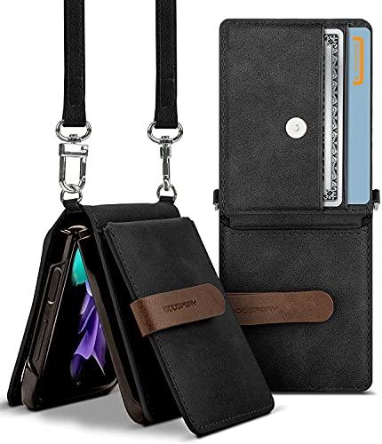 Goospery Wallet Hülle Kompatibel mit Galaxy Z Flip 3, Abnehmbarer Kartenhalter 2 Kartenfächer Aufbewahrung Premium-PU-Leder Verstellbarer Umhängeriemen Angebrachter Kopfhörer-Kabel-Organizer (Schwarz)