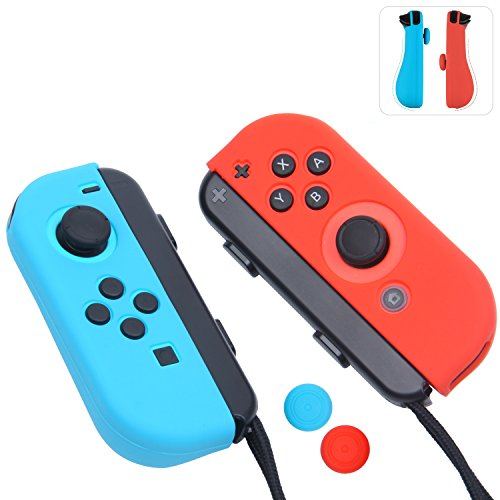 Joy-Con Gel Guards with Thumb Grips Caps for Nintendo Switch (Blue+Red)
