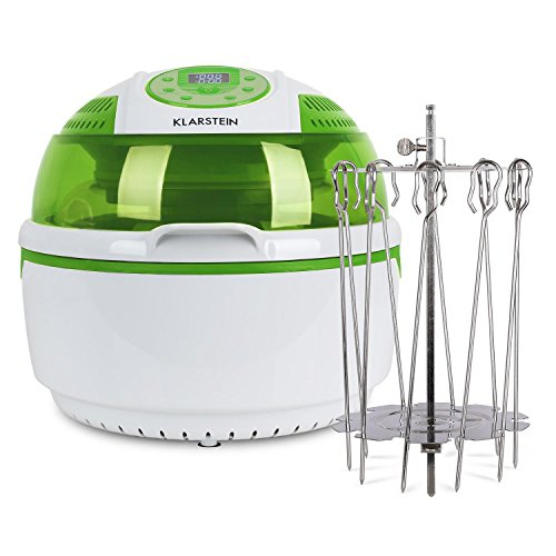 Klarstein VitAir Heißluftfritteuse Fritteuse + Drehspießrotatoren (1400 Watt, 9 Liter Garraum, fett-frei Frittieren + Backen + Grillen + Rösten, Halogen-Infrarot-Heizelement, Antihaft) grün-weiß