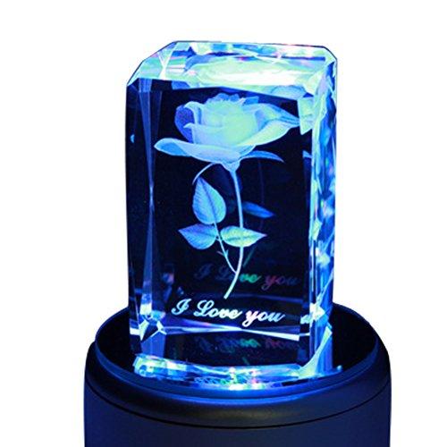 Crystal 3D Rose Flower Rotating Music Box