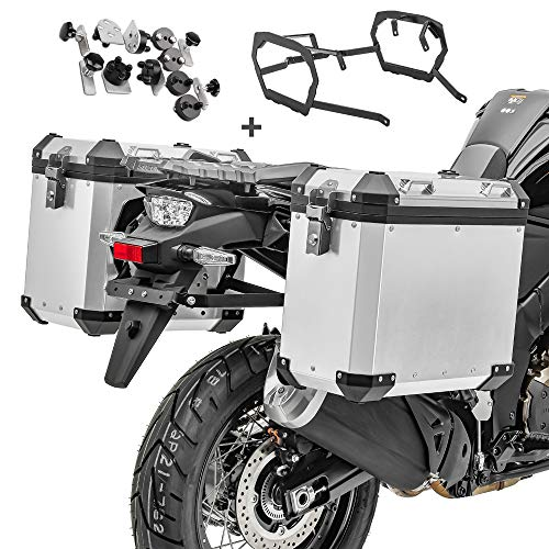 Maletas Laterales Aluminio + Soporte para BMW F 800 GS/Adventure 08-18 GX38-45 Plata