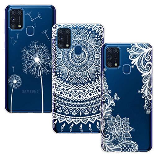 BAOWEI 3-Stück für Samsung Galaxy M31 Hülle, Transparent Weiche Durchsichtig Dünn Handyhülle mit Süße Muster Silikon TPU Stoßfest Schutzhülle Hülle für Samsung M31-Weiße Blume, Mandala und Löwenzahn