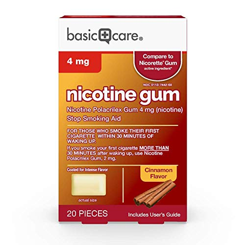 Basic Care Coated Nicotine Polacrilex Gum, 4 mg (nicotine), Cinnamon Flavor, Stop Smoking Aid, 20 Count