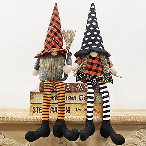 TURNMEON 2 gnomos de bruja de peluche, decoración de Halloween, gnomos de Halloween, duendes escandinavos, decoración de fiesta de Halloween, decoración del hogar, juguetes para niños y adultos