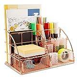 innislink Organizador de escritorio, mesa oficina, organizador con cajón, soporte para bolígrafos, A4, 6 compartimentos, portalápices metal, escuela, hogar, oro rosa