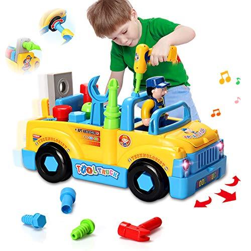 HOMOFY Construcción multifuncional desmontable, juguete, herramienta camión para niños, juguete 3 + con taladro para montaje, música, regalo para niños de 3 años de edad, niños y niñas