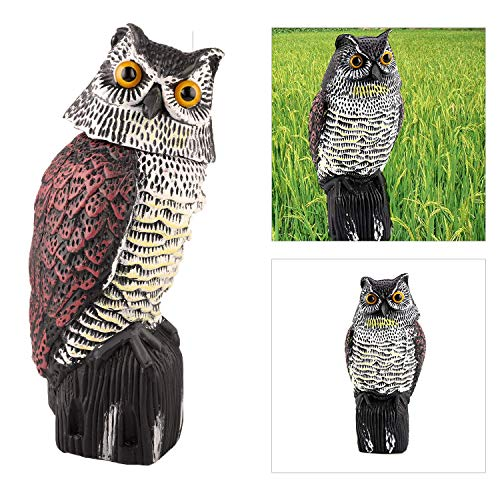 Owl Decoy Bird Deterrent with Rotating Head, Natural Enemy Scarecrow Deterrent Pest Crow Bird,Fake Owl for Outdoor Garden Yards
