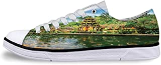 Balinese Decor Soft Low Top Canvas ShoesTirta Empul Temple Bali Indonesia Exotic Trees Oriental Building Fish Lake Photo for Women,US 5