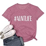 NANYUAYA Auntlife T Shirt Women Summer Funny Letter Print Auntie Gifts Tops Tees