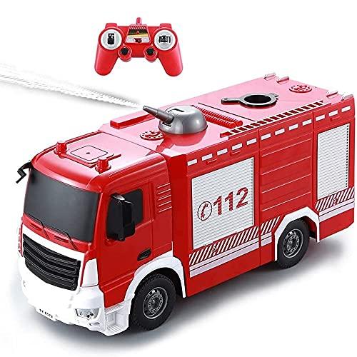 Nsddm RC Camión Rescate, camión Bomberos simulación, automóvil Juguete RC con Pistola Agua Aerosol, Control Remoto Radio/Luces Intermitentes, batería Recargable, Juguetes educativos, niño,
