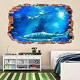 Tiburón peces submarino profundo acuario etiqueta de la pared mural calcomanía habitación de los niños 70x110cm