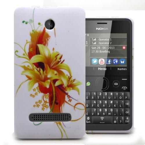 Accessory Master 5055716366914 Blumen Silikon Schutzhülle für Nokia Asha 210 orange