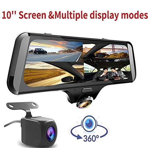 XJIANQI 10-Zoll-IPS-Vollbild-Fahrrekorder, Hochauflösendes 1440P, 360-Grad-Vollbild-Panoramaüberwachung, Touchscreen-Design, Parküberwachung,Without GPS