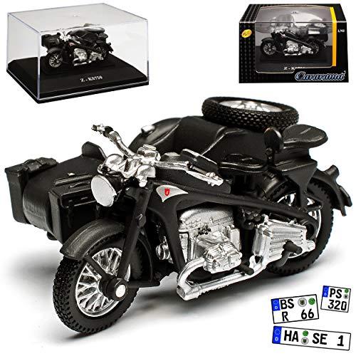 Cararama Zündapp KS750 Grau mit Seitenwagen mit Sockel und Vitrine 1/43 Modell Motorrad