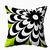 Capsceoll Fun Pillows Case, Chic Daisy Personalized Lime Green 18x18 Pillow Cover Home Decoration Pillow Cases Zippered Covers Cushion for Sofa Couch