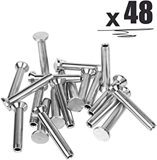 """48PCS Stainless Steel Fixed Ends Stemball Swage Stud Dead Ends Hardware Kit for 1/8"""" Wire Rope Cable Railing, T316 Marine Grade"""