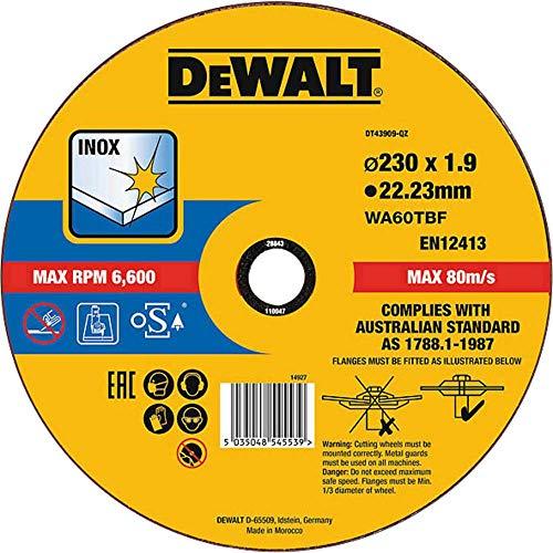DEWALT DT43909-QZ DT43909-QZ-Disco de Corte Plano INOX con Grano Profesional de óxido de Aluminio Thin Cut 230 x 1.9 x 22.23 mm, Negro, Estandar