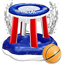 iGeeKid Inflatable Pool Basketball Hoop Pool Game Set Swimming Pool Toys Water Floats with Ball for Kids Adults Summer Pool Party Fun Games Beach Ball Outdoor Water Toys Sports Game Set