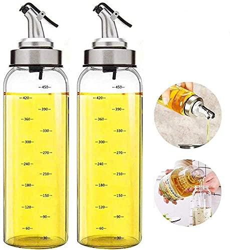 Aceitera Antigoteo de Cristal, Botella para Aceite de Oliva y Vinagre Cocina, Recipiente con Tapón Dispensador, Vidrio con Escala de Medidas, 2x500ml