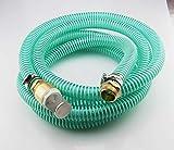 15m Saugschlauchgarnitur, PVC Spiralschlauch LW 25mm 1 Zoll, Filter- Rückschlagventil und Anschluss Messing 1' AG