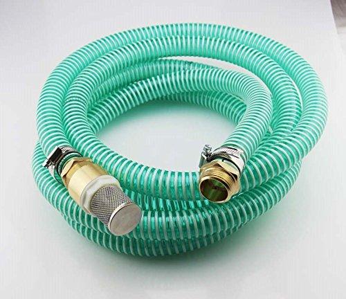 15m Saugschlauchgarnitur, PVC Spiralschlauch LW 25mm 1 Zoll, Filter- Rückschlagventil und Anschluss Messing 1